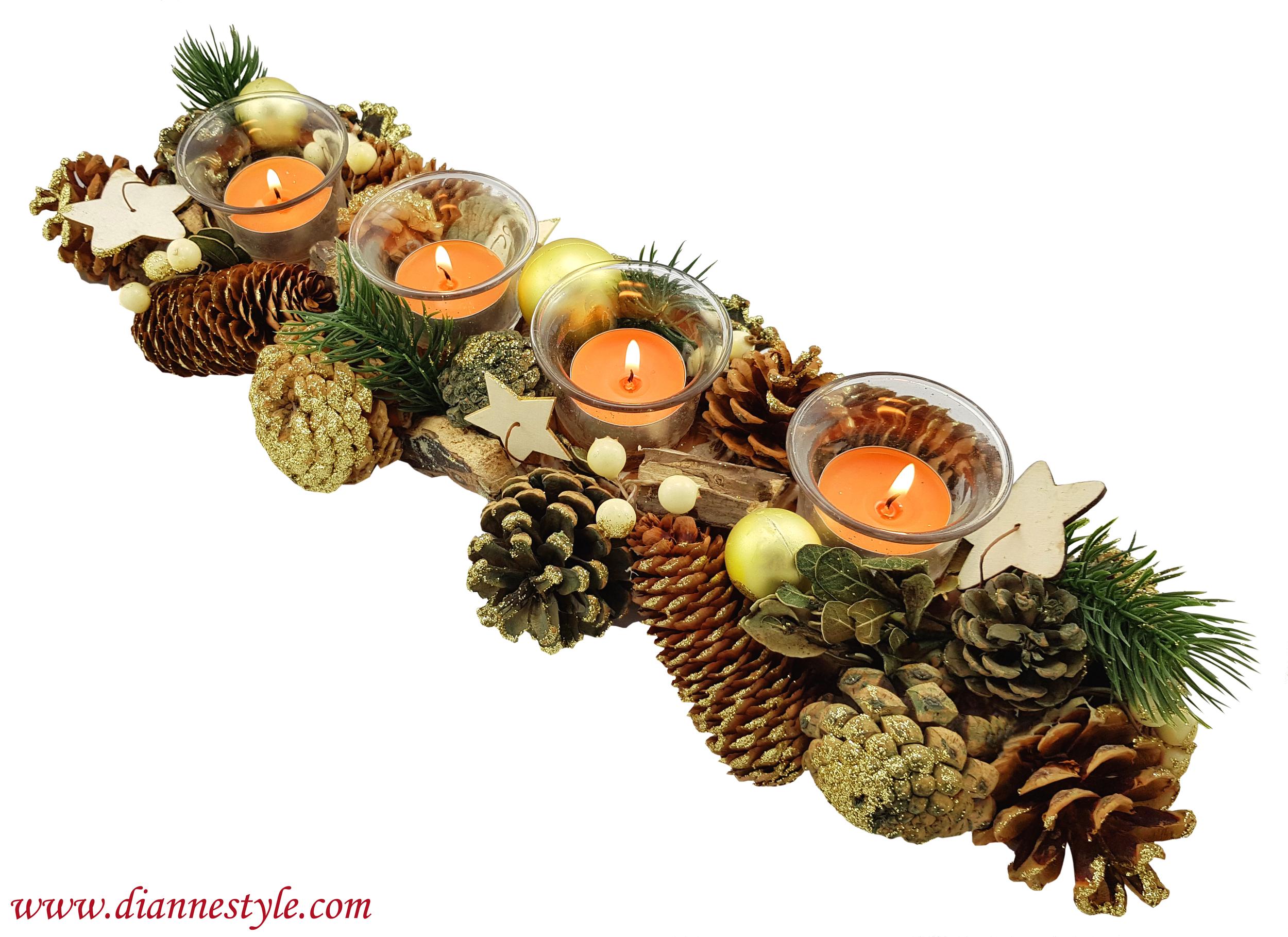 Décoration de Noël rectangulaire. Brune et dorée. Réf. 281