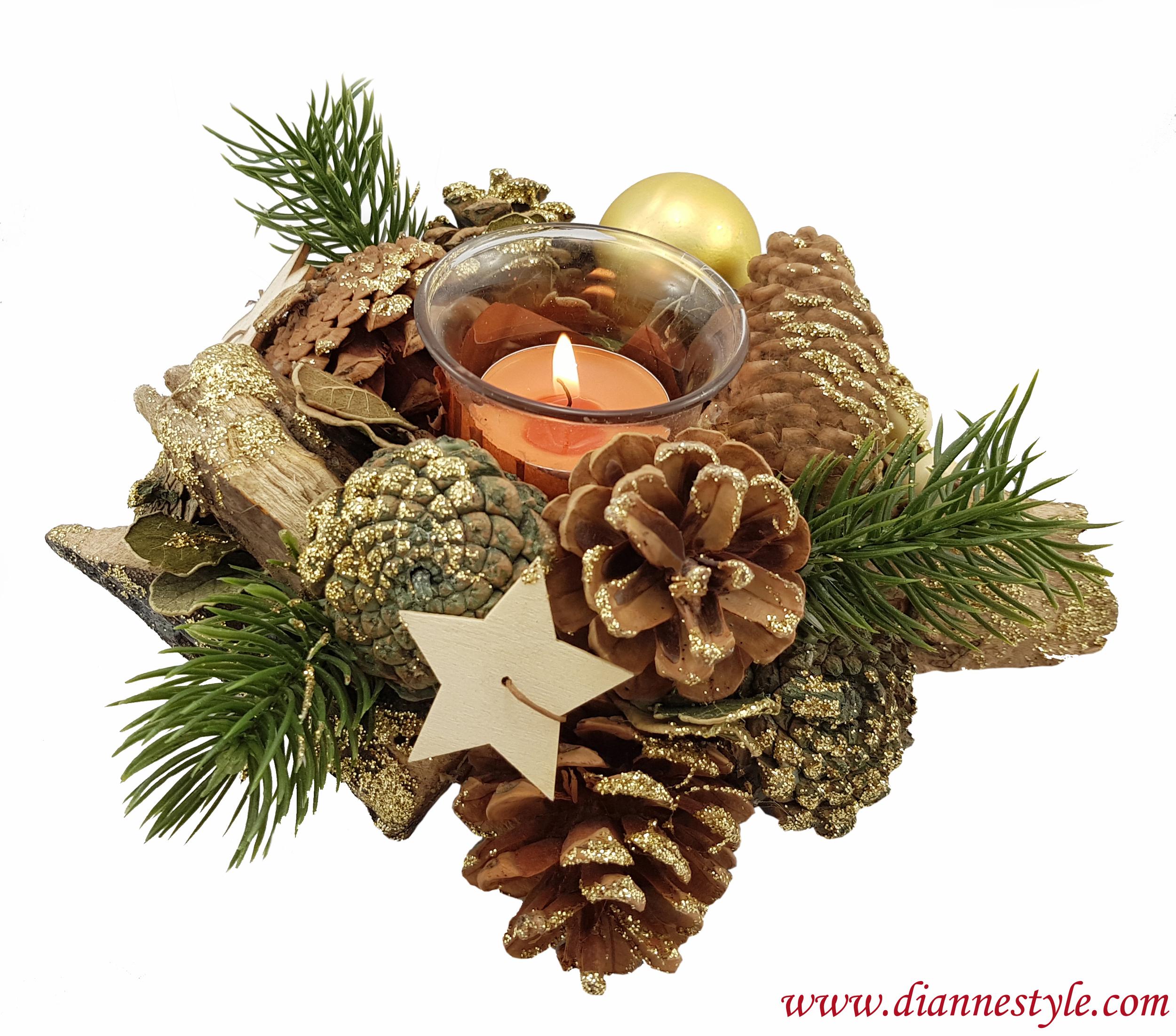 Décoration de Noël ronde. Brune et dorée. Réf. 280