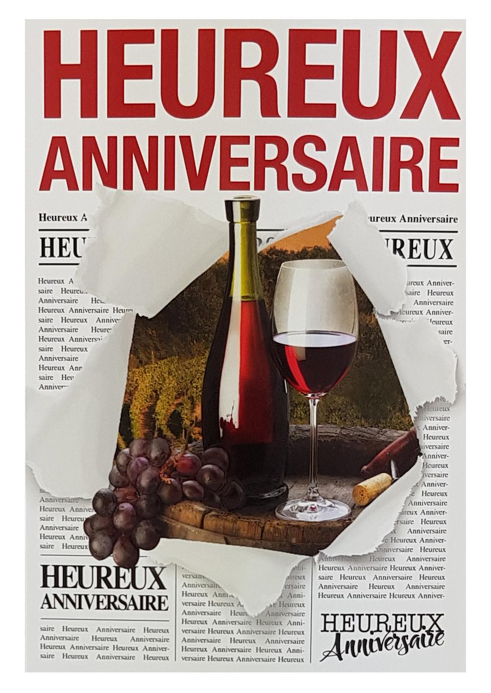 Carte de menu anniversaire homme - vin rouge. Réf. 58