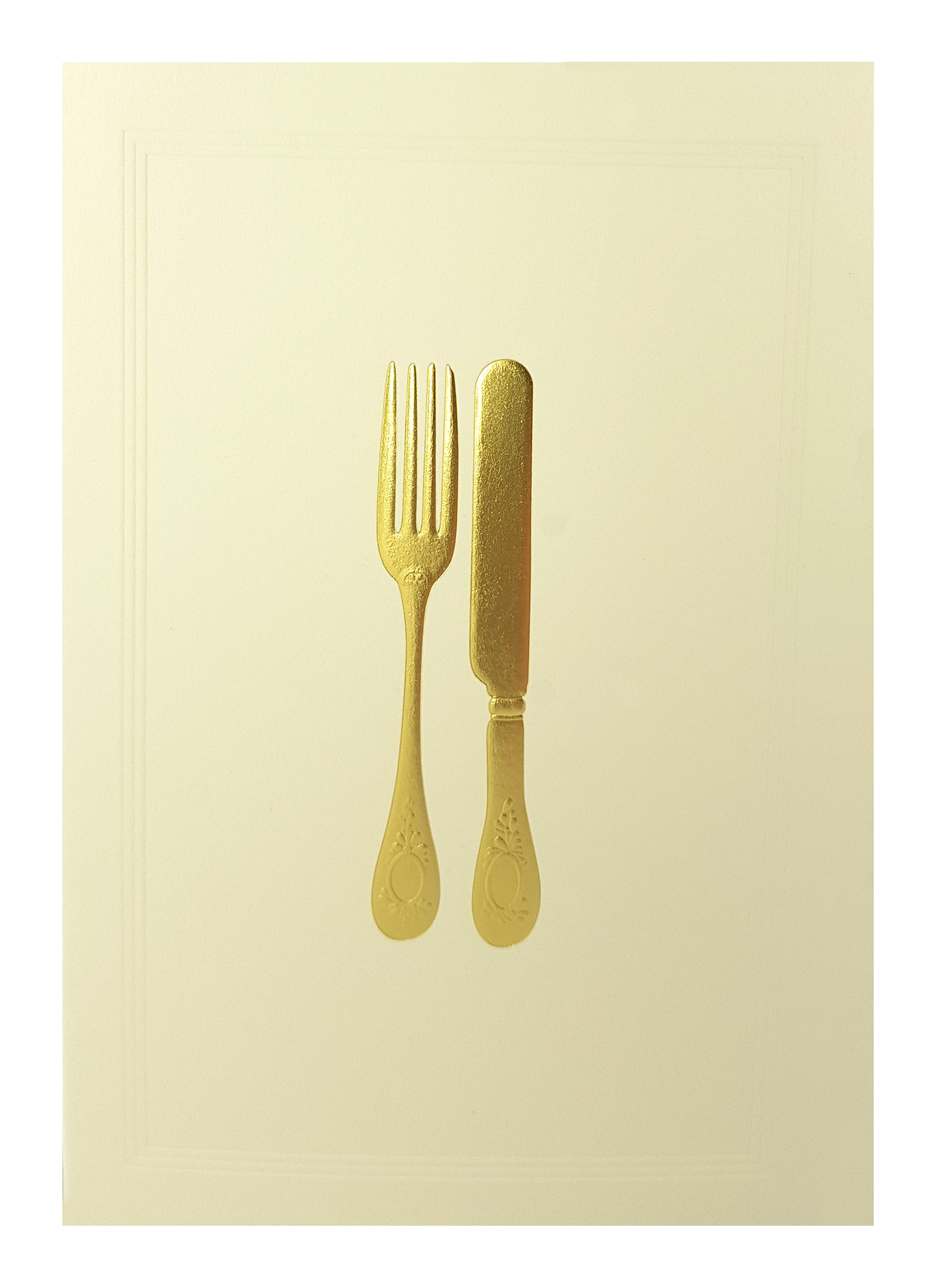 Carte de menu ivoire couverts dorés. Réf. 208