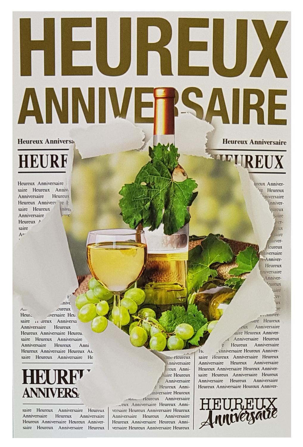 Carte de menu anniversaire homme-vin blanc. Réf. 60
