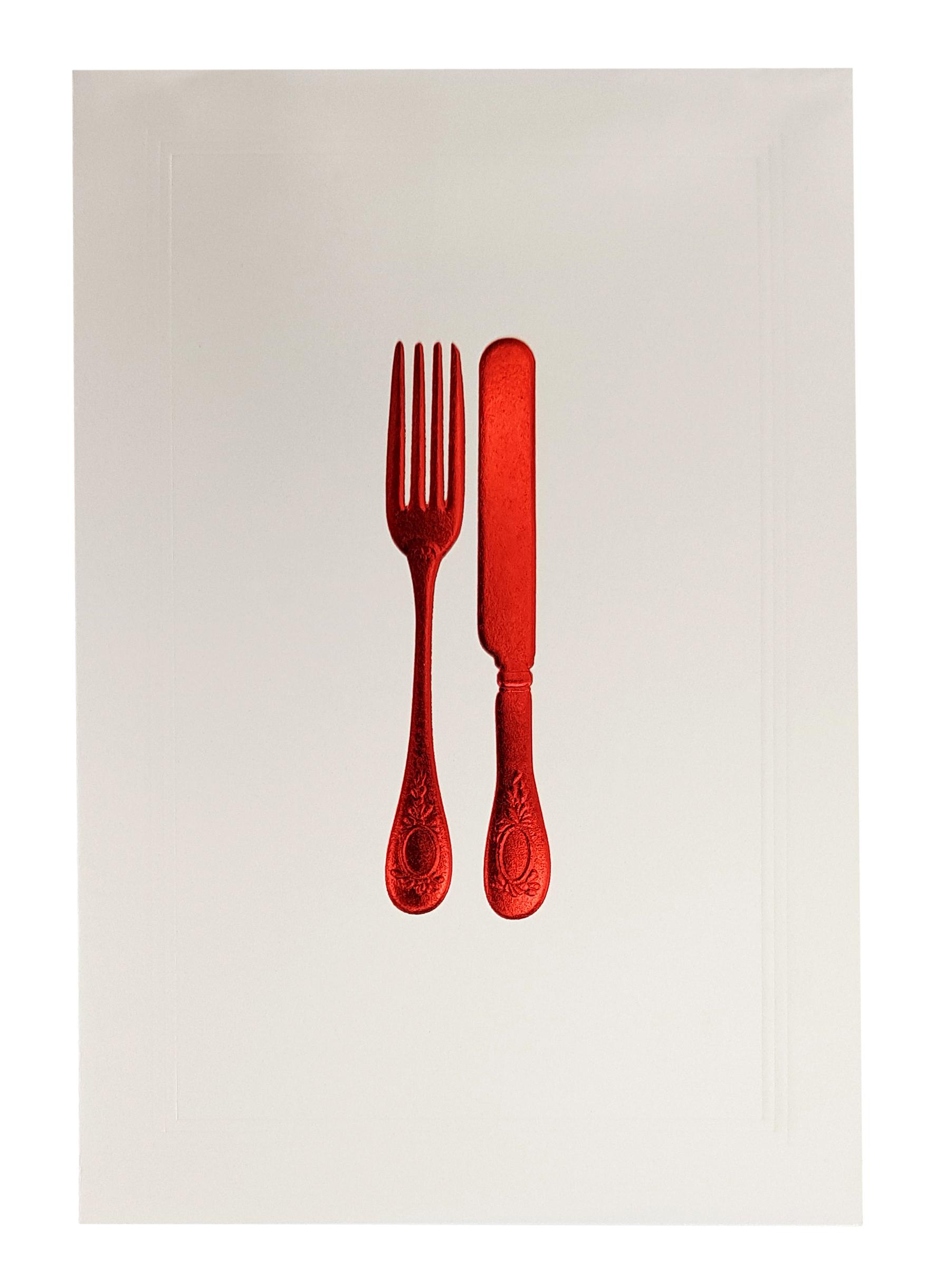 Carte de menu blanche couverts rouges. Réf. 206