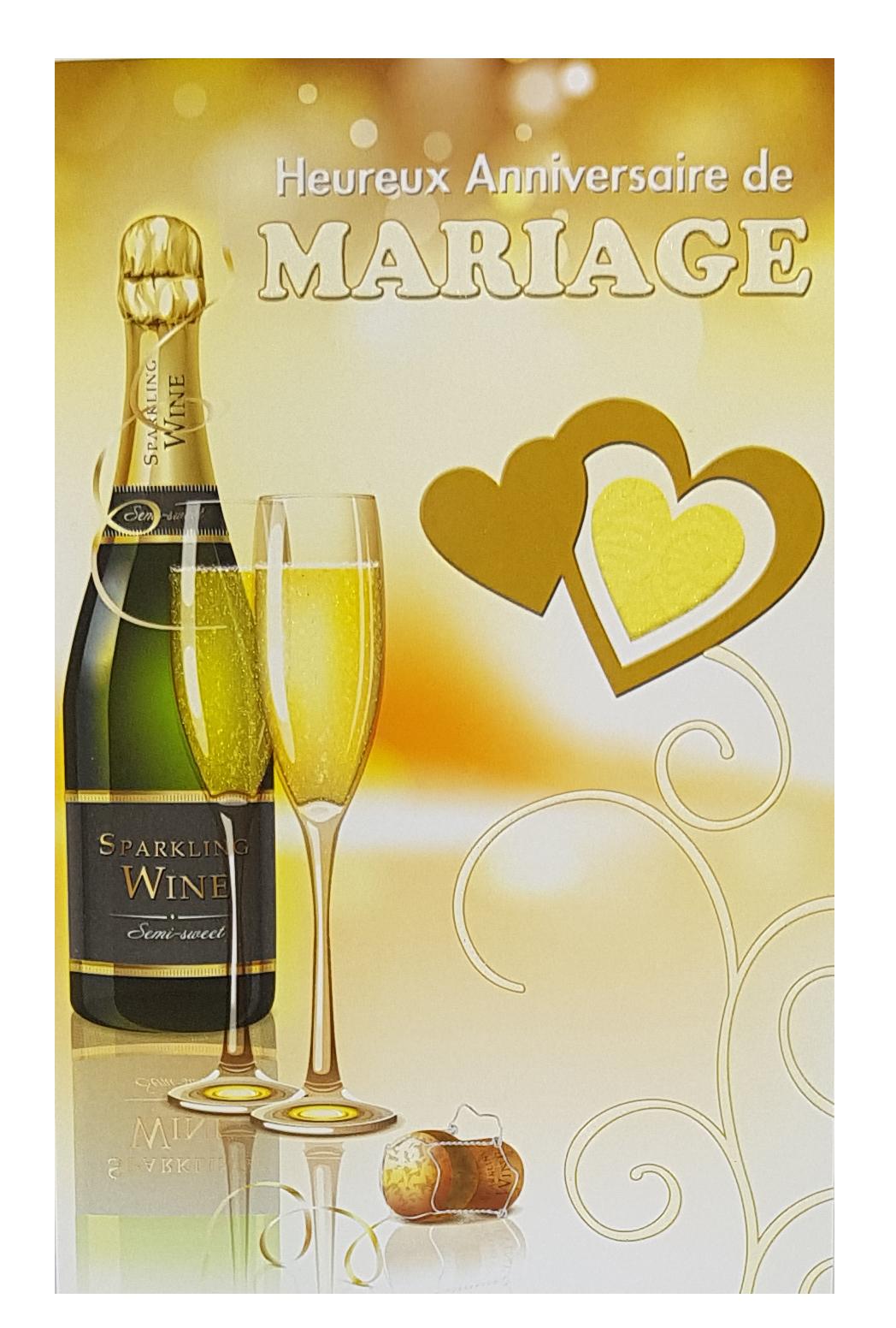 Carte de menu anniversaire de mariage. Réf. 62