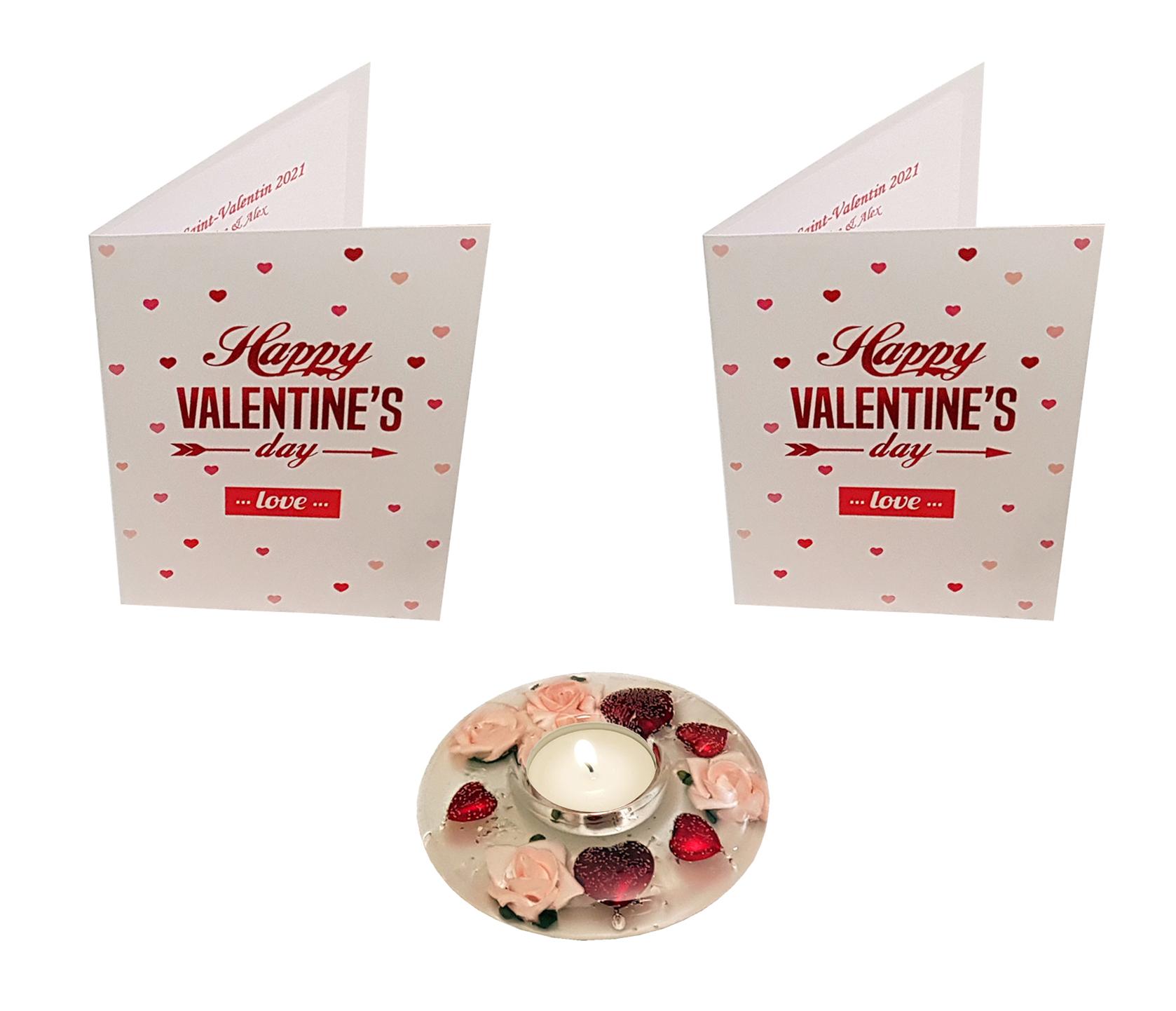 Offre Saint-Valentin : 2 cartes de menus à personnaliser + 1 bougeoir. Réf. 298