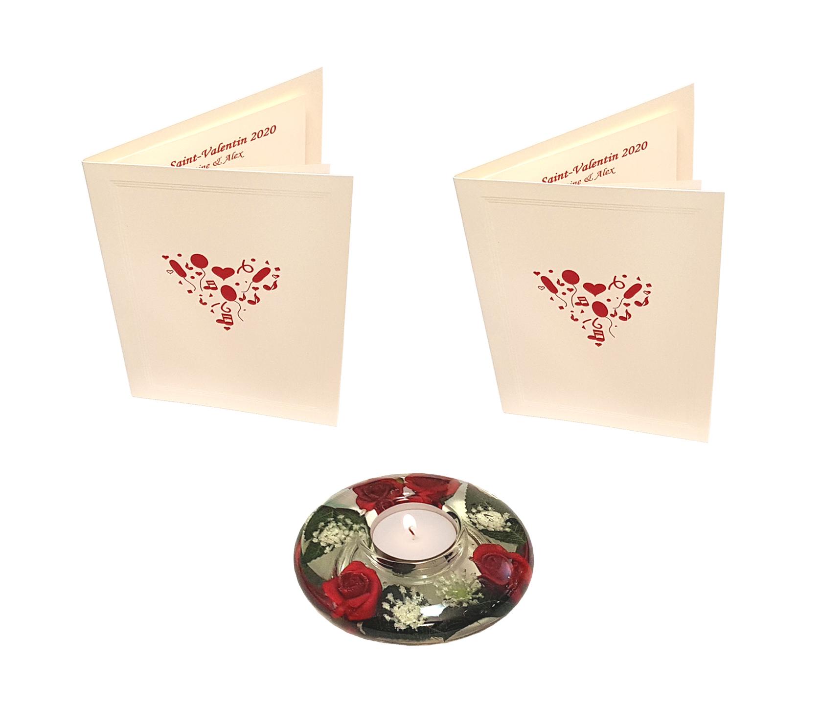 Offre Saint-Valentin : 2 cartes de menus à personnaliser + 1 bougeoir. Réf. 299