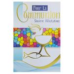 carte personnalisable en menu - Thème communion colombe