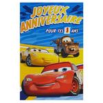 carte personnalisable en menu - Thème anniversaire Cars Disney avec Flash McQueen, Cruz Dinoco et Martin