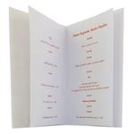 carte de menu baptême fille