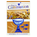 Carte personnalisable en menu - Thème communion garçons