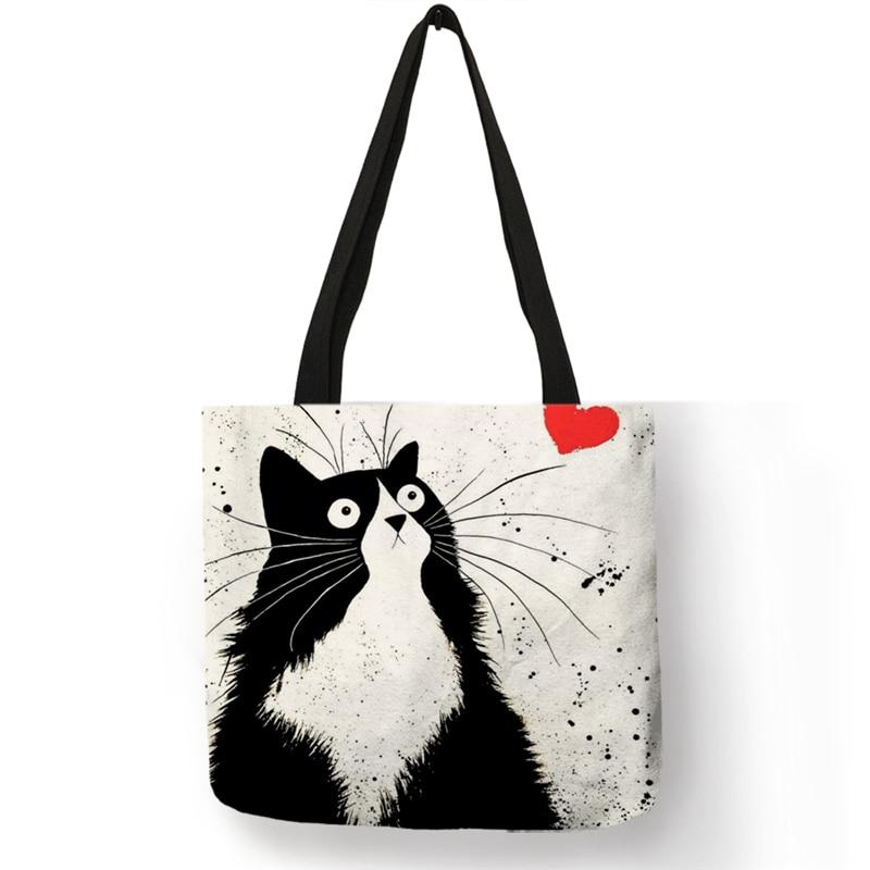 Sac Personnalisé avec impression de chat - Sac À Main Fourre-Tout En Lin pour femme