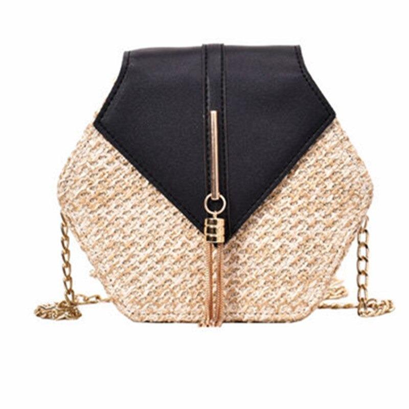 Style paille + cuir sac à main femmes été rotin sac à la main tissé