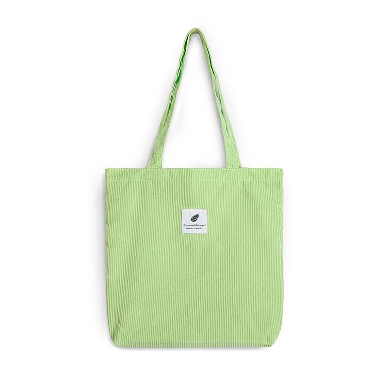 Sac à main en toile velours côtelé pour femmes, fourre-tout - Sac de Shopping pliables réutilisable