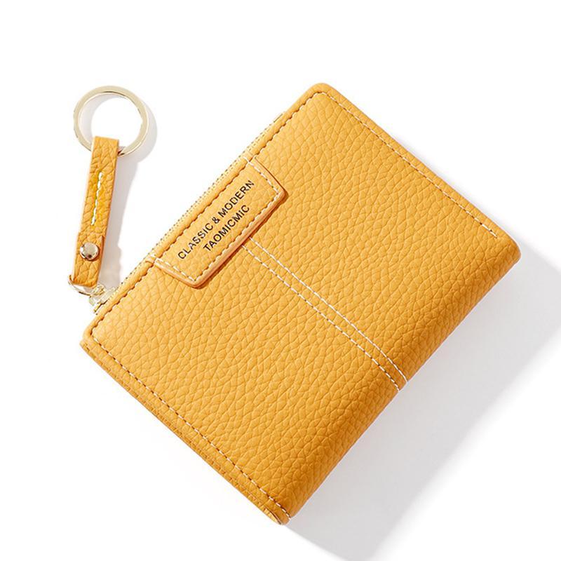 Portefeuille souple en cuir PU femme - Portefeuille mince avec fermeture éclair porte-clés