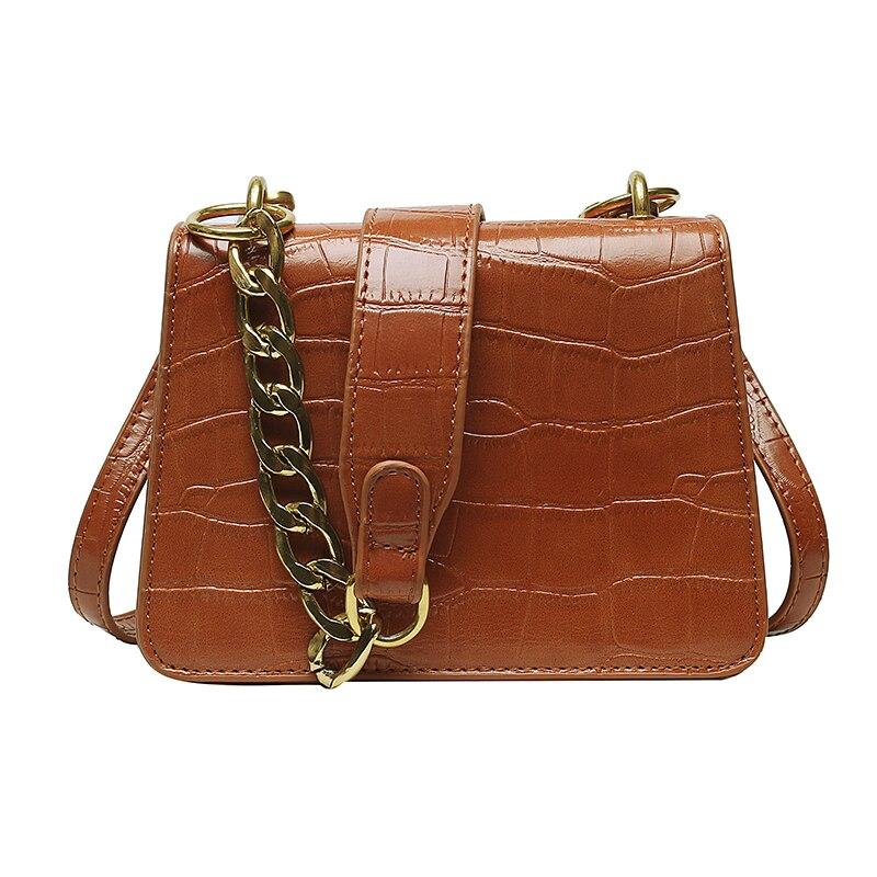 Petit sac Crocodile modèle couleur unie en cuir PU - Sac d\'épaule simple fourre-tout