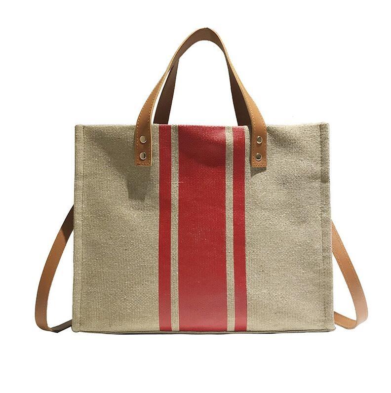 Sac à main rétro en lin pour femmes, sac à bandoulière en toile de couleur contrastée, nouvelle collection