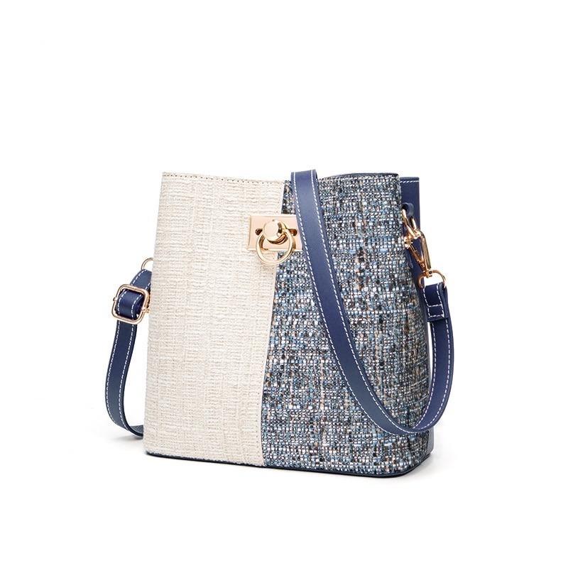 Sac seau à panneaux en laine pour femme - Petit sac à bandoulière Patchwork
