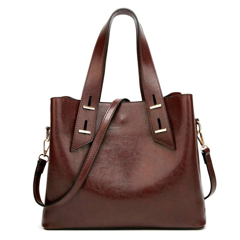 Sac à main de luxe en cuir de cire à l\'huile pour femme - Grand sac fourre-tout à bandoulière Vintage