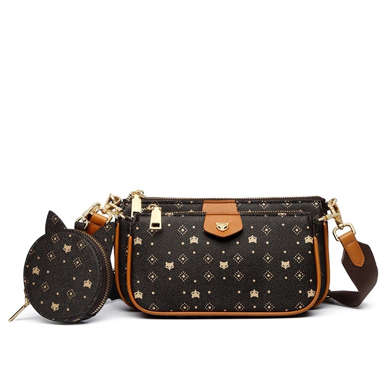 Nouveau : sac à main 3 en 1 en simili-cuir pour femme - Sacoche bandoulière avec porte monnaie amovible