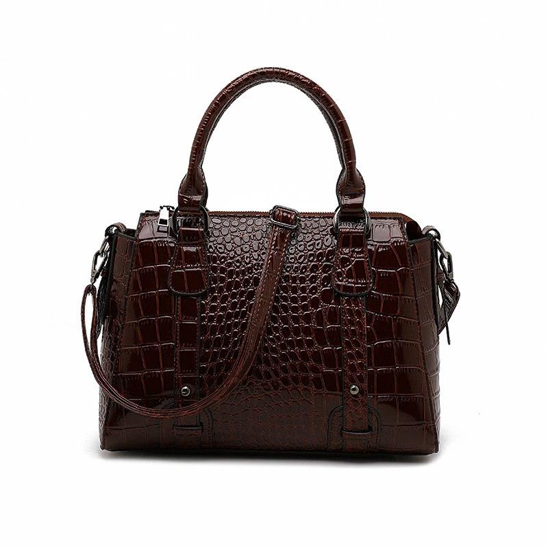 Grand sac à main motif Crocodile pour femme - Sac à bandoulière fourre-tout de styliste de grande capacité