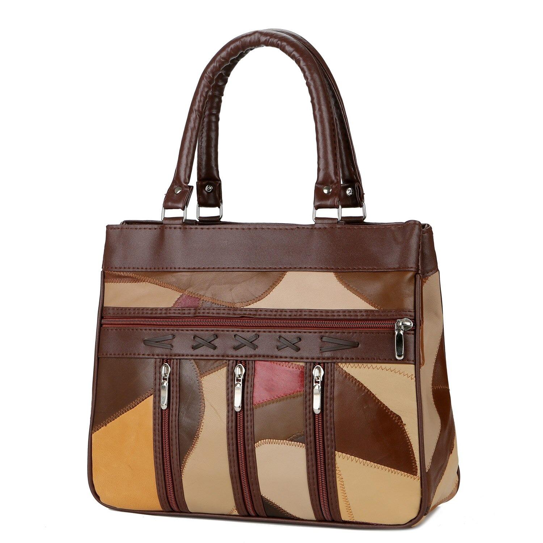 Sacs à main en cuir véritable pour femme, sac à épaule souple de styliste Vintage Patchwork