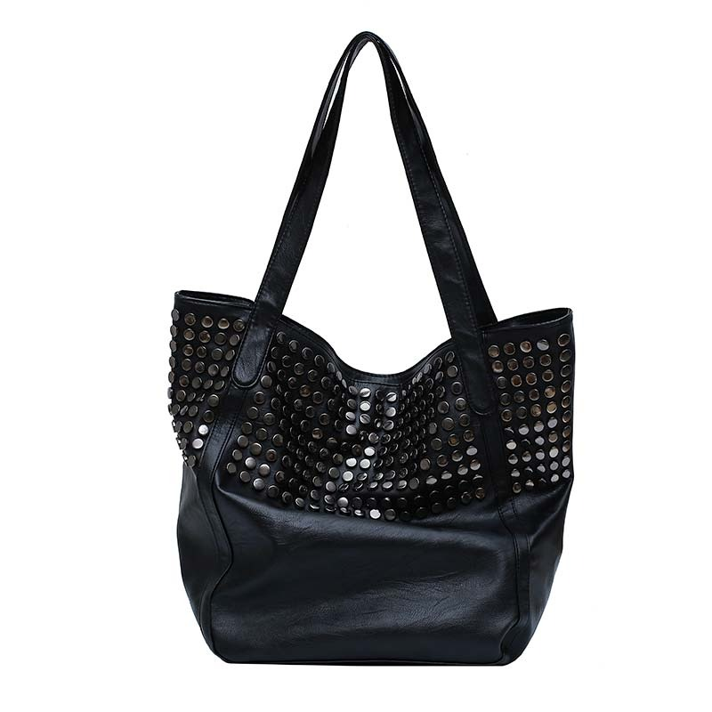 Sac à main à Rivet grande capacité pour femmes, sac à bandoulière doux décontracté noir