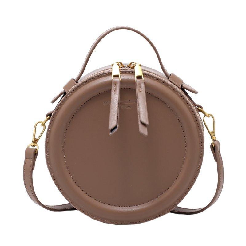 Sac à bandoulière rond en cuir pour femme - Petit sac à épaule à fermeture éclair
