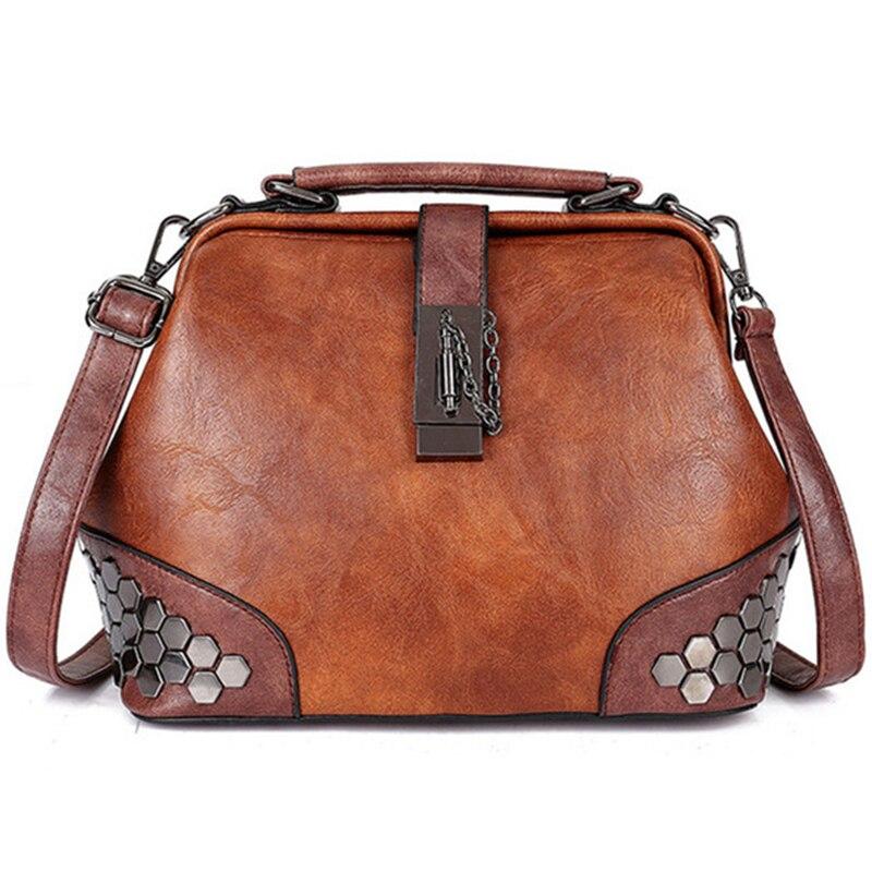 Sac à main en cuir pour femme - Petit sac à bandoulière pour femme avec serrure, chaîne et Rivets