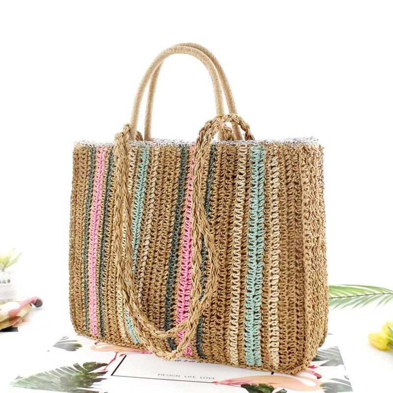 Sac à main de paille en corde de papier coloré, sac à bandoulière tissé portable, sac à main de plage