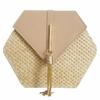 Hexagone-Mulit-Style-paille-cuir-sac-main-femmes-t-rotin-sac-la-main-tiss-plage-cercle