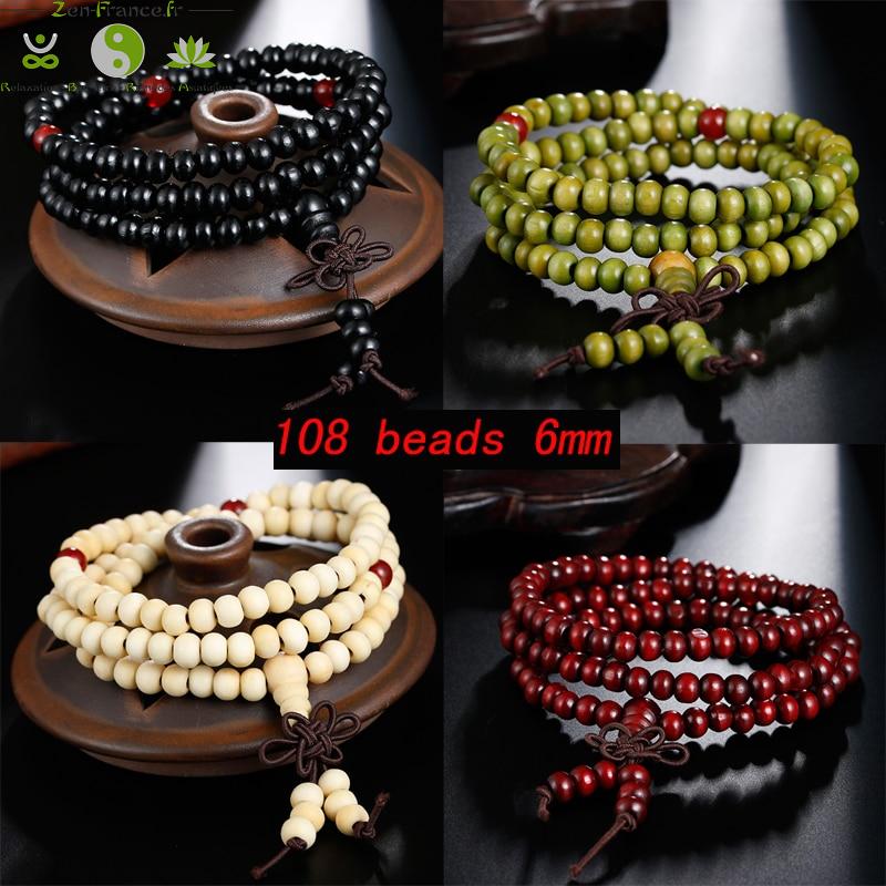 Bracelet mala tibétain en bois de santal 108 perles_08