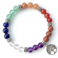 Bracelet 7 chakras en peirre naturelle