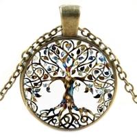 Arbre de Vie en verre coloré Collier & Pendentif bijoux vintage chaîne Collier Ras du cou