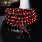 Bracelet mala tibétain en bois de santal 108 perles_03