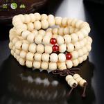 Bracelet mala tibétain en bois de santal 108 perles_05