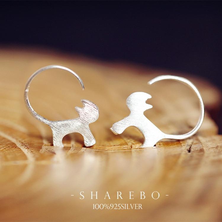 Boucles d\'oreilles argent massif véritable silhouette Chat