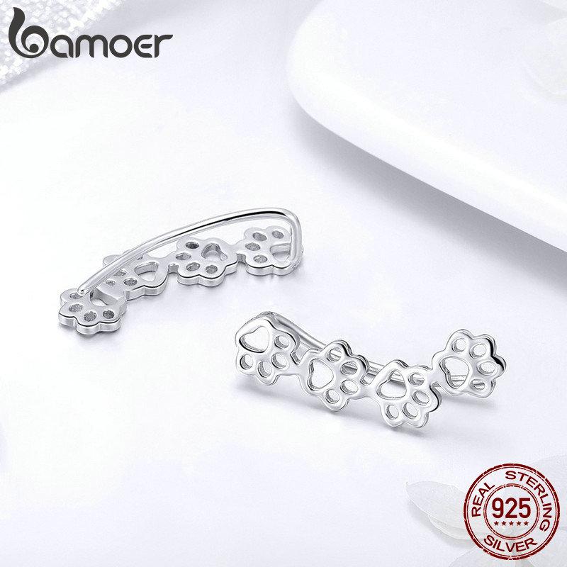 BAMOER-offre-sp-ciale-925-Sterling-Argent-Patte-Piste-Chat-Et-Chien-Empreintes-Boucles-boucles-d