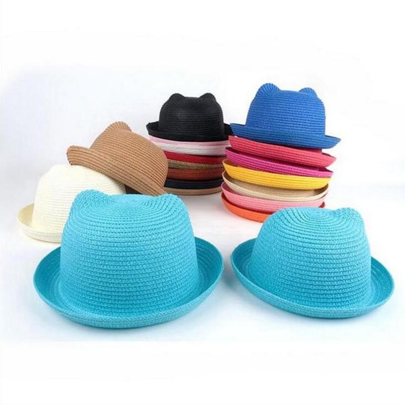 Chapeaux-de-paille-enfants-caract-re-oreille-d-coration-casquette-d-t-b-b-chapeau-de