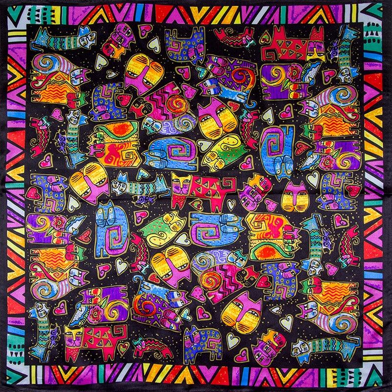Foulard carré en soie Chats Pop Art
