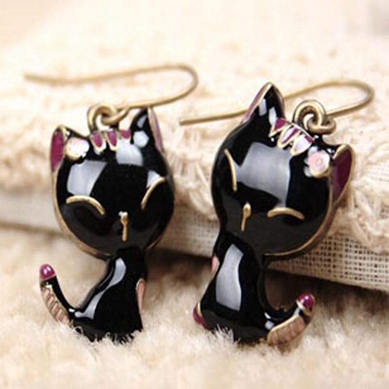 2016-nouveaut-noir-Kitty-chat-mignon-boucles-d-oreilles-pour-les-femmes-fille-Bronze-couleur-cadeau