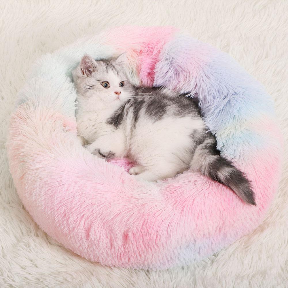 Coussin peluche moelleux rainbow pour votre Chat