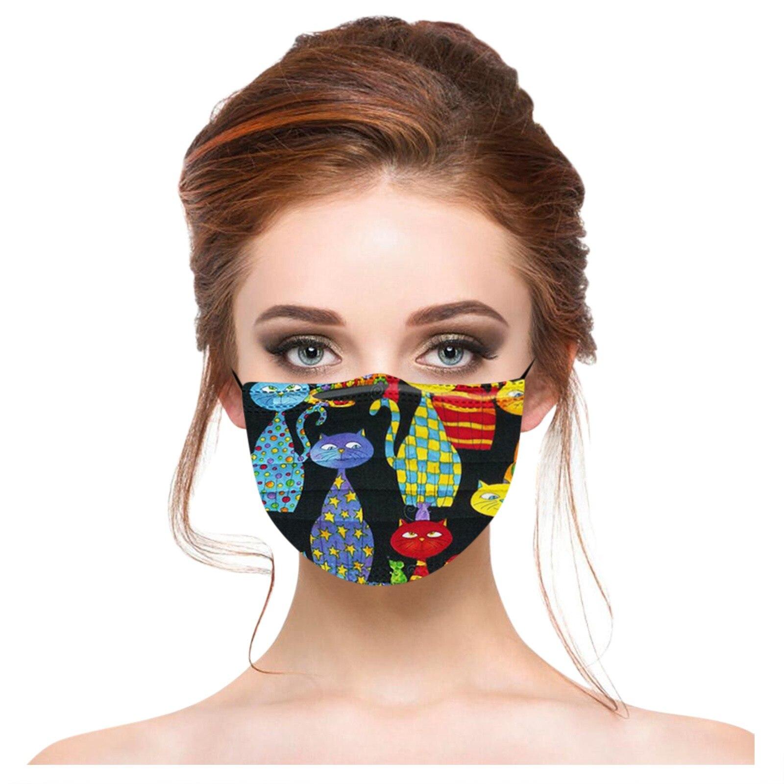 Masques adultes jetables Chats rigolos (lot de 20) divers coloris