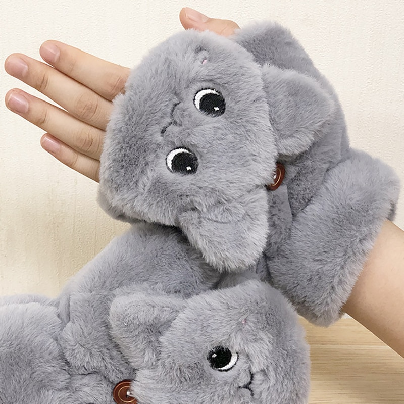 Mitaines-moufles Chat peluche