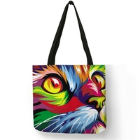 Sac fourre-tout en lin Chat Pop Art