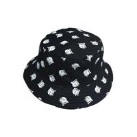 Adulte-coton-plat-chapeaux-pour-hommes-femmes-Chapeau-r-versible-seau-Chapeau-chat-imprim-p-cheur