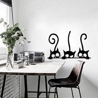 Belle-Trois-Noir-Chat-BRICOLAGE-Stickers-Muraux-Animaux-Chambre-D-coration-personnalit-Vinyle-Stickers-Muraux