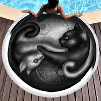 Drap de plage Chat Yin et Yang en tissu éponge