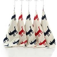 Lot de serviettes/essuies-mains silhouette Chat en coton tissé
