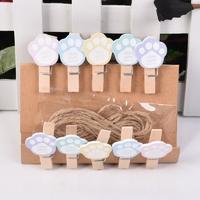 Lot de 10 mini pinces en bois pattes de Chat pastel