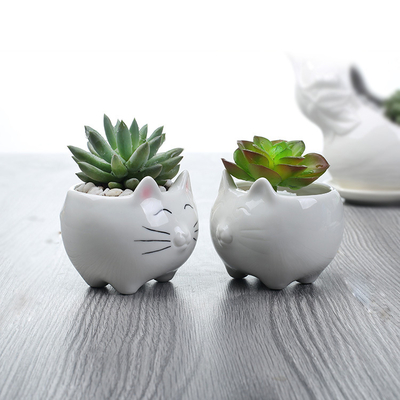 Chat-de-bande-dessin-e-Ours-Polaire-Pingouin-En-C-ramique-Pot-De-Fleur-Vase-Maison