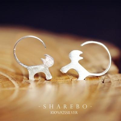 Boucles d'oreilles argent massif véritable silhouette Chat
